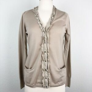 Elie-Tahari-Medium-Women-s-Cardigan-Beige-Merino-Wool-amp-Silk-Trim-Buttons-Up