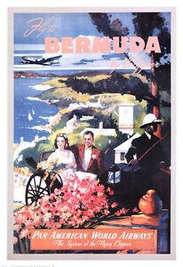 Travel Print 26x38 Am Pan Poster American Art Details About Vintage By Clipper Bermuda wmvNOn08