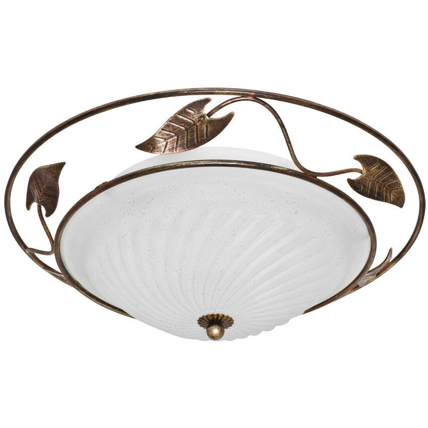 Deckenleuchte Lampe mediterran landhaus Altmessing  Blätterornamenten Ø 40cm