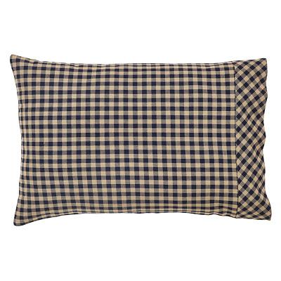 NAVY CHECK Pillow Case Set//2 Khaki Country Primitive Cotton Rustic Standard VHC