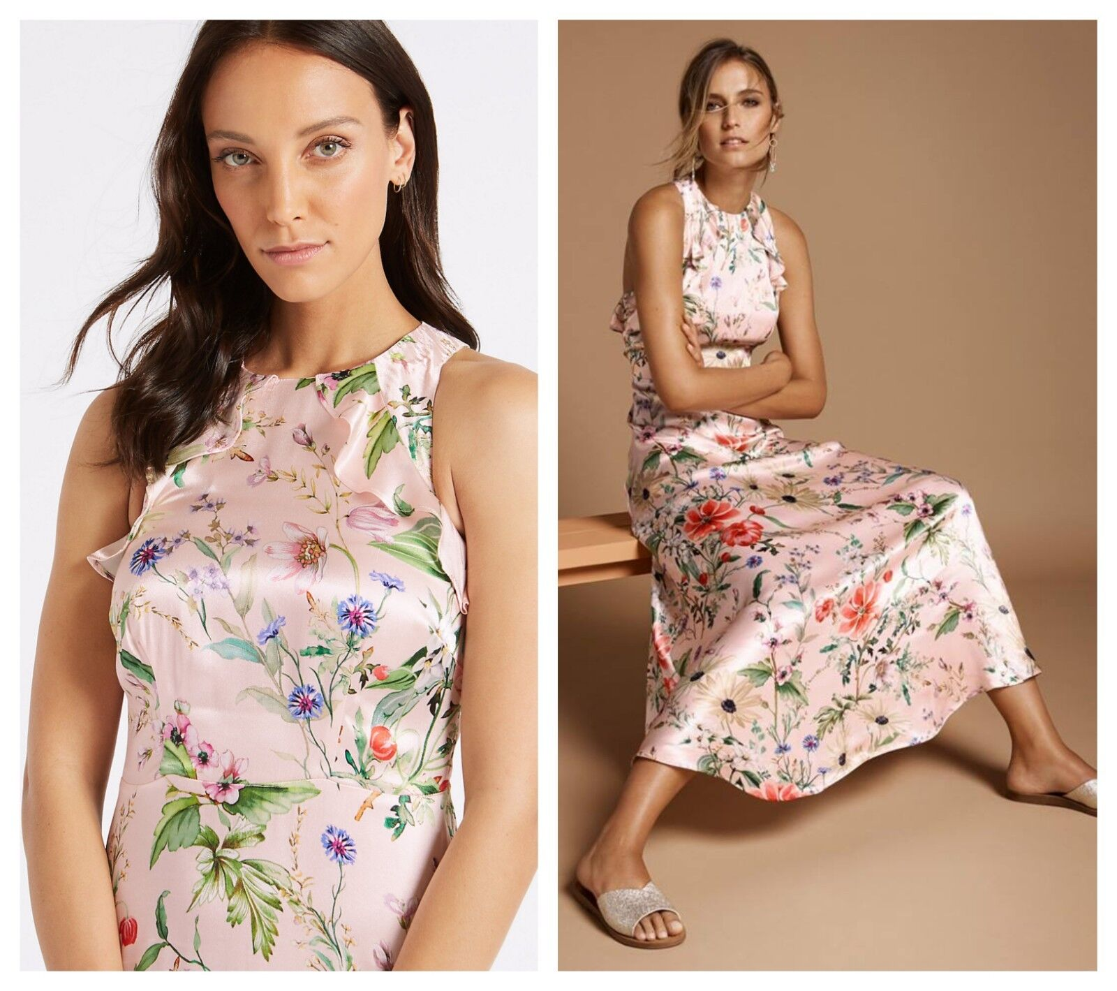 Ex M&S Marks & Spencer Satin Floral Maxi Cut Out Occasion Dress