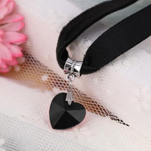 Black Velvet Silver Plated Rhinestone Heart Crystal Choker