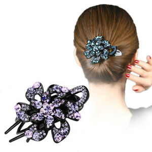 Women-039-s-Flower-Crystal-Hair-Clips-Clamp-Hairpin-Bobby-Pins-Barrettes-Accessories