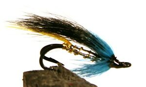 Salmon-Fly-Black-and-Blue-Double-Hook-3-pack-Pick-a-size-Fly-Fishing-Fly
