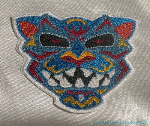 Embroidered Native Fierce Cougar Wildcat Art Patch Aqua Blue Iron On Sew On USA