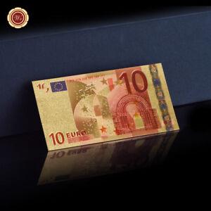 WR-10-Euro-Banknote-24k-Gold-Geldschein-Bunte-Sammlung