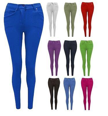1s New Ladies Plain Slim Skinny Fit Jeggings Stretch Women Size Leggings Jeans