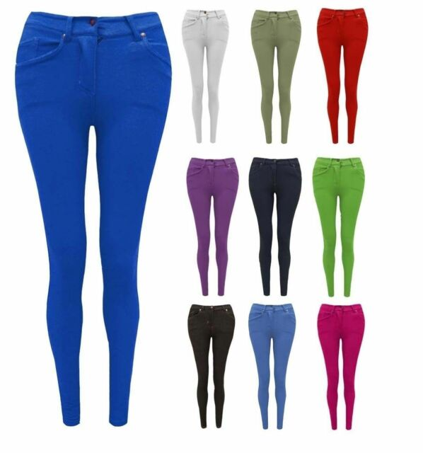 Jeans Women's Clothing Plus Size Ladies Womens Stretchy Skinny Fit Plain Denim Jeans Jeggings Leggings