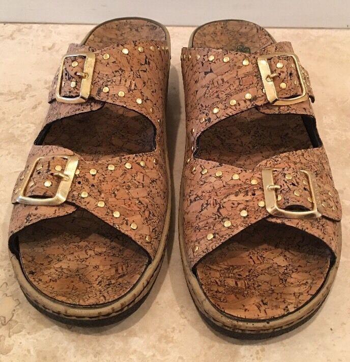 HELLE Tan Cork & Leather Comfort Sole Sandal scarpe oro Buckle Studs 42EU 11.5M