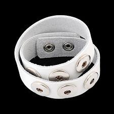 Leder ARMBAND Chunks Chunk Click Button Druckknopf Knöpfe (40-45 cm) Weiß #4121