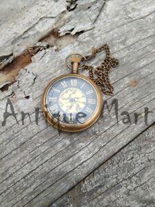 Vintage-Antique-Dial-Pocket-Watch-Victoria-London-Marine-Brass-Clocks-With-Chain