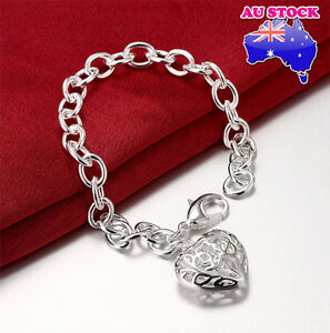 925-Sterling-Silver-Filled-Womens-Charm-Bracelet-Bangle-with-Lovely-Heart