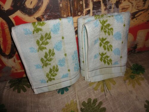 2PC JALLA GRIFFE JAUNE BLUE GREEN WHITE FLORAL STRIPE HAND TOWELS LIGHTWEIGHT