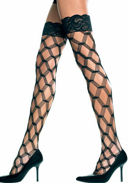 NEW STOCKINGS stay up thigh highs LACE TOP DIAMOND NET QUALITY FAST FREE POST