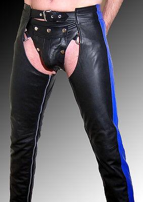 Lederhose Lederchaps Leder gay Chaps schwarz mit Streifen leather trousers black