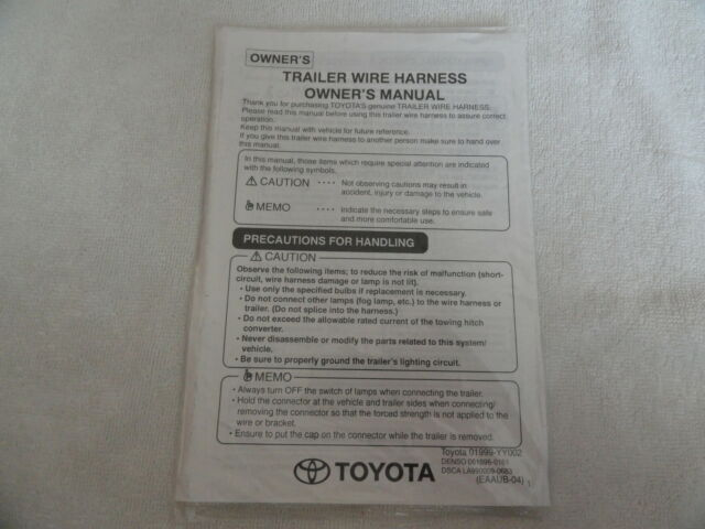 2002 Toyota Trailer Wire Harness Owners Manual Supplement
