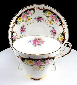 """ALLYN NELSON COLLECTION ENGLAND PINK & YELLOW FLORAL 2 3/4"""" CUP & SAUCER SET"""