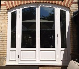 Hardwood arched french doors with sidelights made to for Hardwood french doors