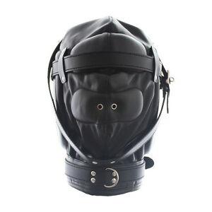 Face-Eyes-Gimp-Hood-Mouth-Leather-Full-Mask-Locking-Blindfold-Fetish-Bondage-NNI