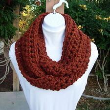 INFINITY LOOP SCARF Dark Burnt Orange & Brown Handmade Crochet Knit Winter Cowl