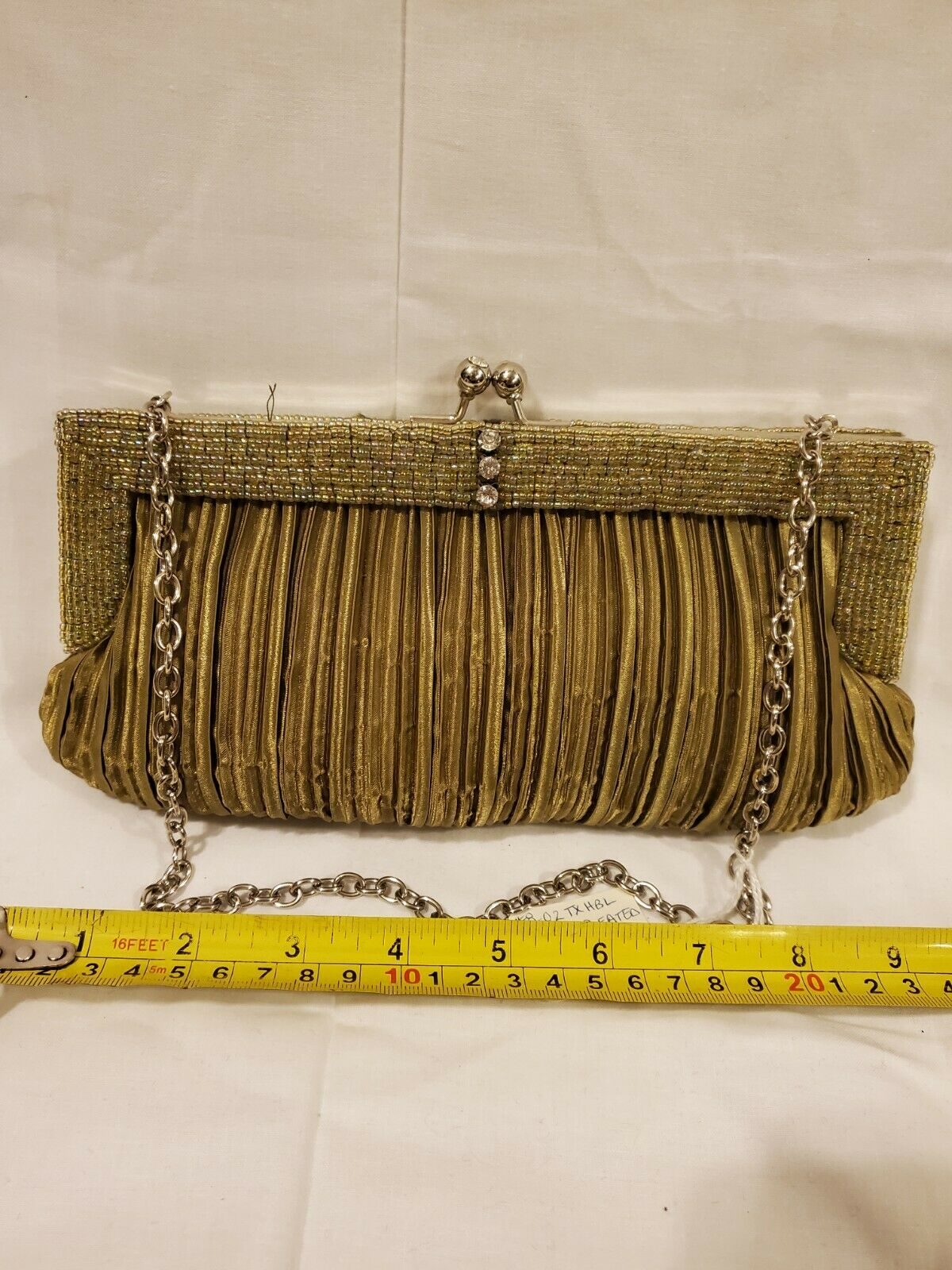 Women Evening Purse. Olive. Pleated Satin with beaded trim.