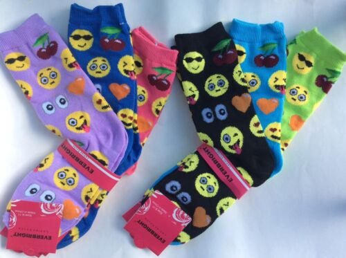 BLUE//LILAC//PINK//BLACK//LIME//ROYAL BLUE NIP 6 PAIRS LADIES//TEEN EMOJI SOCKS* LT