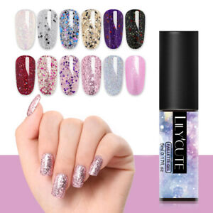 LILYCUTE-5ml-Glitter-Pailletten-UV-Gel-Nagellack-Colorful-Nail-Art-Gel-Manikueres