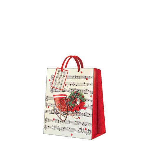 Christmas Printed Paper Gift Present Bag WINTER SLEIGH Medium Horizontal D