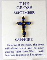 6030263 September Sapphire Cz Birthstone Cross Lapel Pin Christian Tie Tack Broo on sale