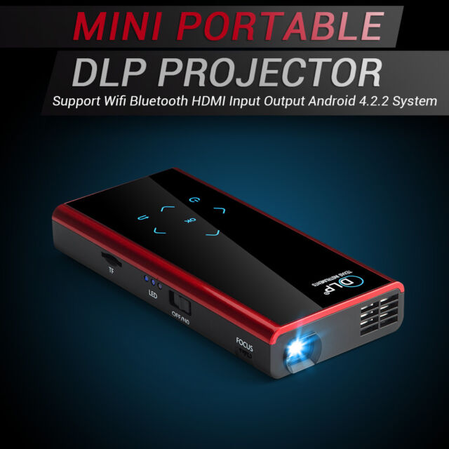 Mini Portable DLP LED Projector Wifi Bluetooth HDMI Input Output Android 4.2