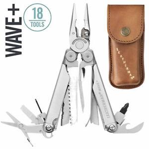 ~NEW~ Leatherman Wave Plus Multi-Tool, Stainless w/ Heritage Leather Sheath