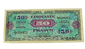1944 WWII EUROPE WORLD ALLIED MILITARY CURRENCY FRANCE 50 FRANCS NICE