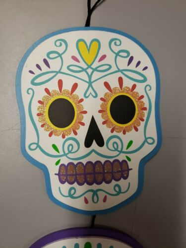 New Día de Muertos Triple Skull Hanging Wood Sign Halloween Day of the  Dead