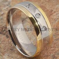 Titanium Wedding Band 14k Gold Ring Diamond Simulated Bridal Jewelry Size 6-13