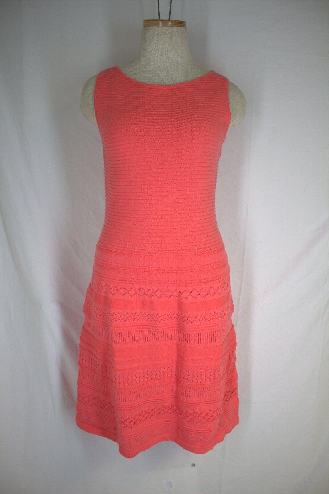 RALPH LAUREN DRESS  Knit Sweater Dress SMALL Peach Coral Sunrise Lined