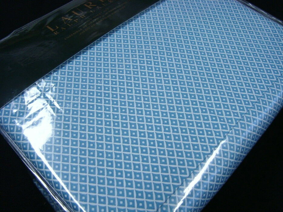 New Ralph Lauren Sheet Set King 4 P 100% Cotton blueE DIAMOND WHITE
