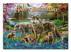 c155; Large Personalised Birthday card; Custom made for any name;wolves wolf den