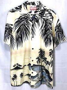 991057e7 Image is loading RJC-Hawaiian-Shirt-Beige-Aloha-Robert-J-Clancey-