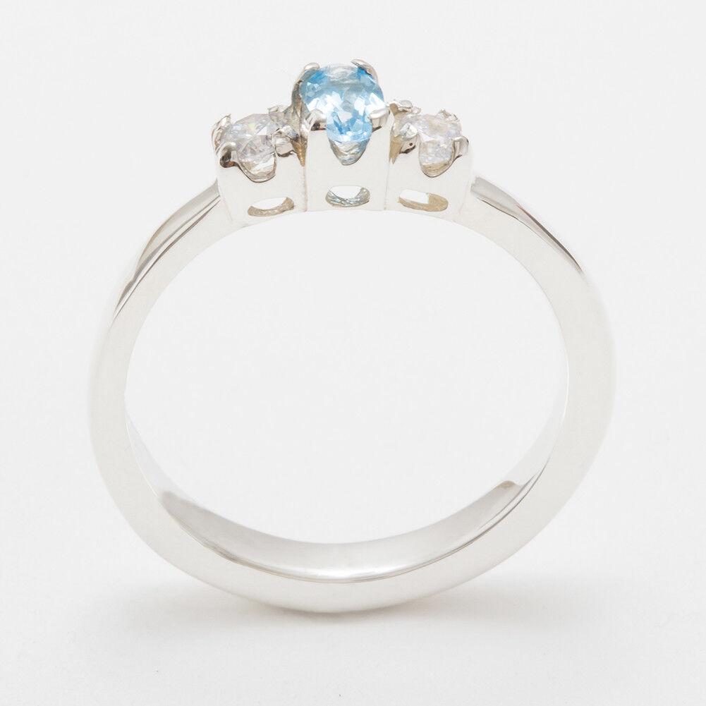 10k White gold Natural bluee Topaz & Diamond Womens Trilogy Ring - Sizes 4 to 12