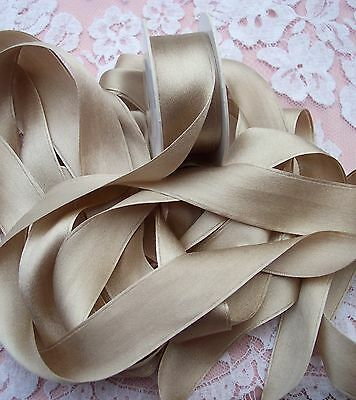 """100% PURE SILK /SATIN RIBBON ~CHAMPAGNE~COLOR   4 1/2 YDS 1"""" [25MM] WIDE"""