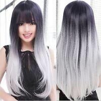 Superwigy Arrival Lolita Ombre Gradient Black+gray Wig Women Long S... -