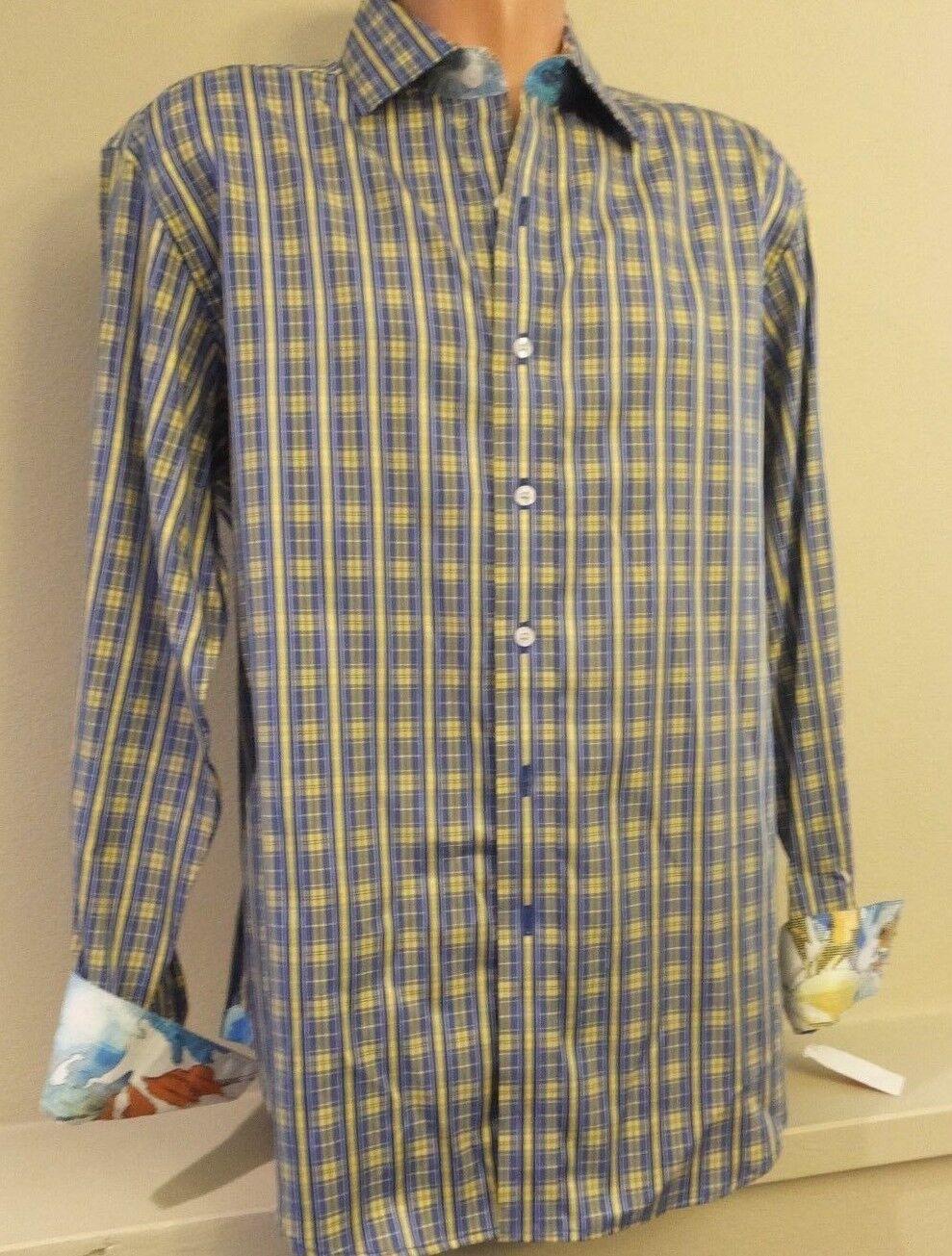 Mens L Robert Graham bluee Yellow Plaid Button Front Shirt Long Sleeve MALONE