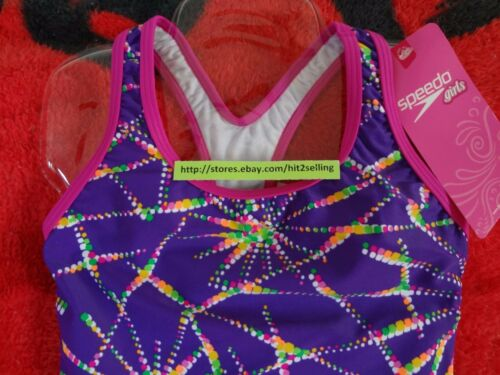 SPEEDO Swimsuit Girls Children Size 5 to 14 Purple Pink Rainbow Star Mix Colors