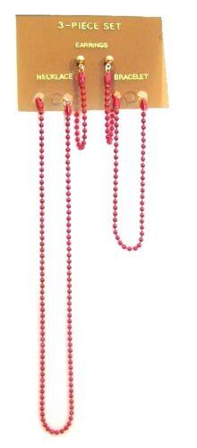 Red Orange Green Blue Bead Necklace Bracelet Earrings Party Girls Jewelry Set UK