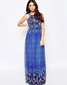 Floral Maxi 4 Sz Dress Bright Water Mistress Bello Paint Little Blue cXqa5Hx