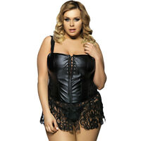 Women Lingerie Intimate Leather Dress Corset Size 6 8 10 12 14 16 18 20 7222 S
