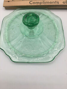 Vintage-Green-Depression-Glass-Candy-or-Cookie-Jar-LID-ONLY