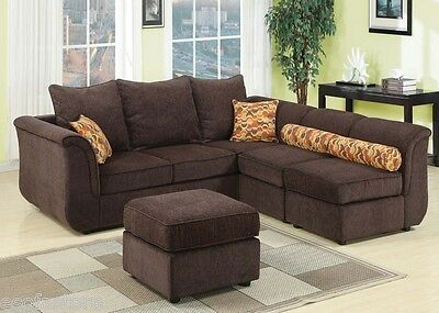 Chocolate Chenille Sectional Sofa With Ottoman Couch For Living Room Furniture