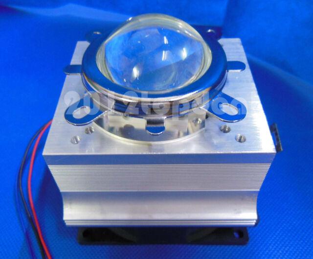 2pc 20-100W LED Aluminium HeatSink Cooling Fan+44mm Lens + Reflector Bracket kit