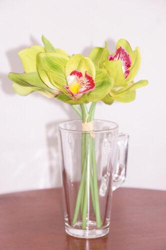 28cm 5 HEADS ARTIFICIAL SILK CYMBIDIUM ORCHID FLOWER WEDDING BOUQUET HOME DECOR